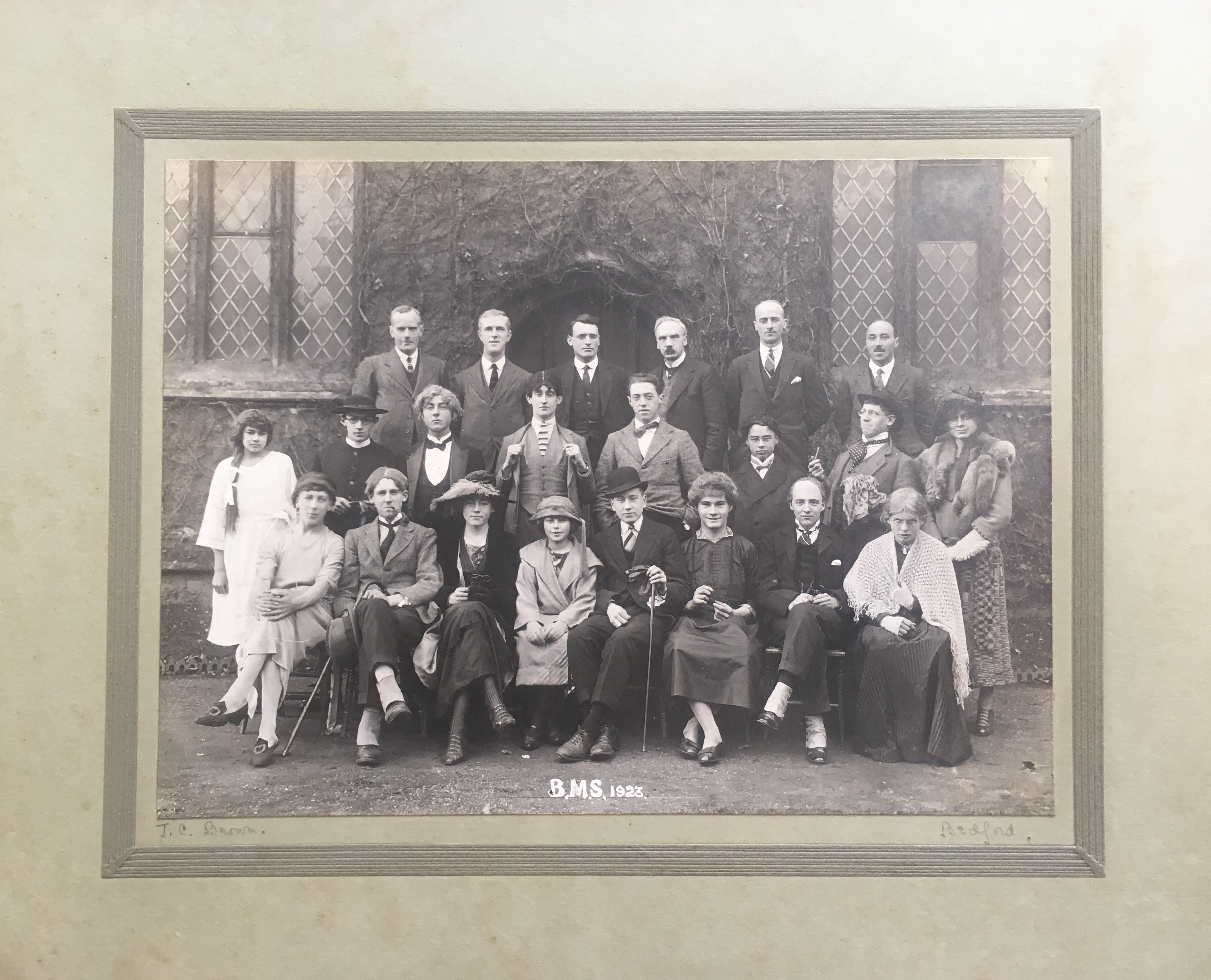 1923 BMS Dramatic Society incl Christopher Fry (2nd left, middle)-BMS-P1883