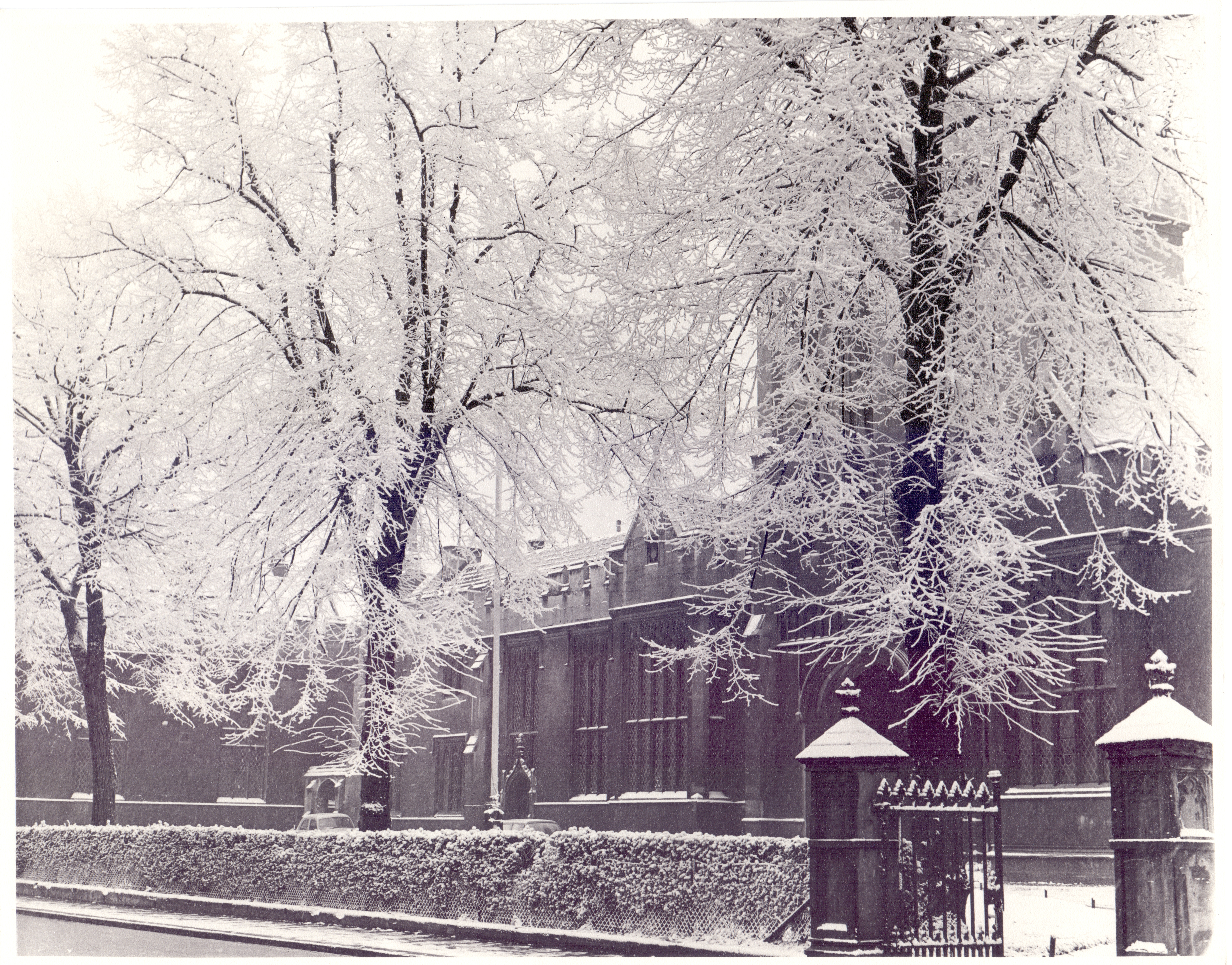 Harpur Street frontage in snow, c1960 - credit needed to The Bedford Times & Citizen